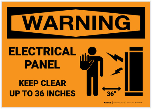 Warning: Electrical Panel - Keep Clear up to 36 Inches With Graphic - Label