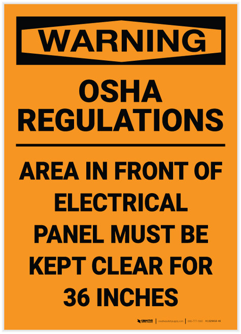 Warning: OSHA Regulations Electrical Panel 36 Inches - Label