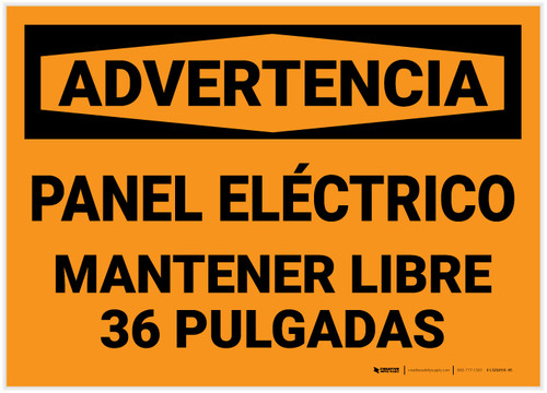 Warning: Electrical Panel Keep Clear Spanish - Label