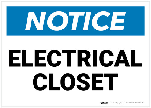 Notice: Electrical Closet - Label