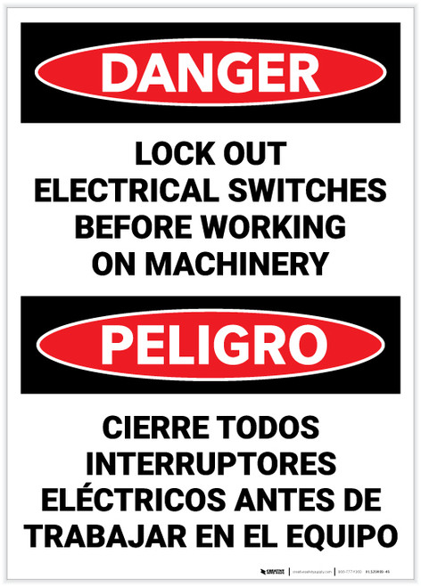 Danger: Lock Out Electrical Switches before Working on Machinery Bilingual Spanish - Label