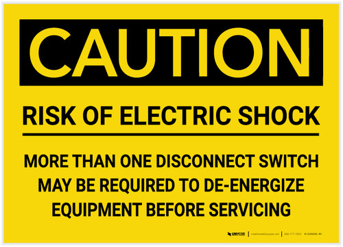 Caution: Risk of Electric Shock - Label
