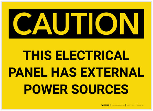 Caution: This Electrical Panel has External Power Sources - Label