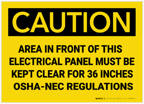 Caution: Electrical Panel Must be Kept Clear for 36 Inches - Label