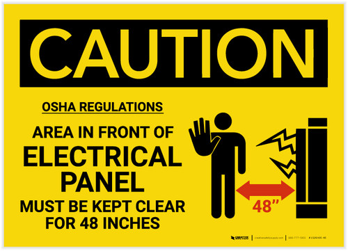 Caution: Electrical Panel Must be Kept Clear for 48 Inches - Label