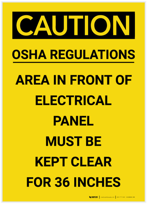 Caution: Electrical Panel Must be Kept Clear for 36 Inches Portrait - Label