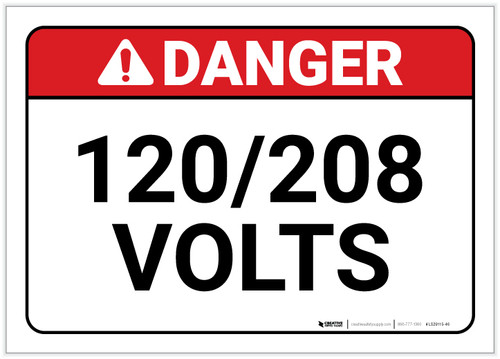 Danger: 120/208 Volts - Label