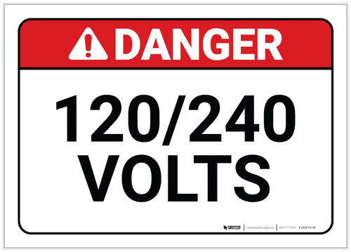 Danger: 120/240 Volts - Label