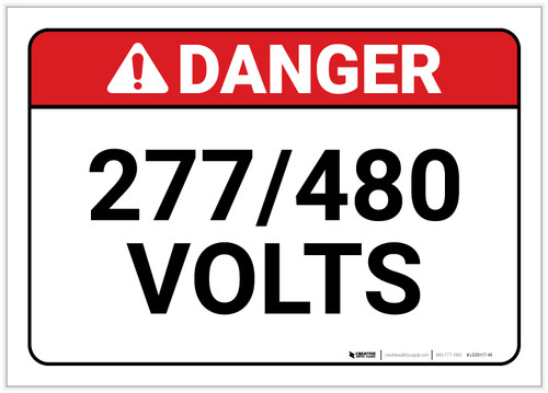 Danger: 277/480 Volts - Label