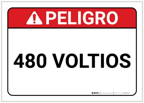 Danger: 480 Volts Spanish - Label