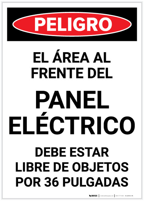 Danger: Area In Front Of Electrical Panel Spanish Portrait - Label