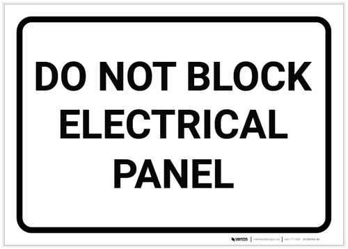 Do Not Block Electrical Panel Landscape - Label