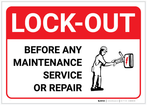 Lock Out Before Any Maintenance with Icon Landscape - Label