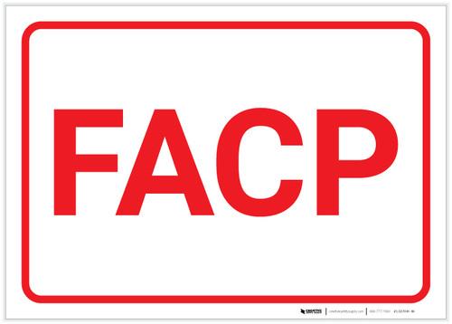 Fire Alarm Control Panel FACP Landscape (White) - Label