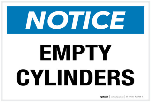 Notice: Empty Cylinders - Label