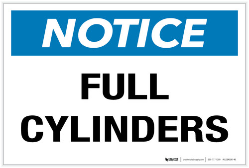 Notice: Full Cylinders - Label