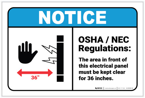 Notice: OSHA NEC Electrical Panel Regulations ANSI - Label