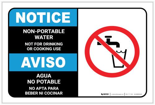 Notice: Non Potable Water Bilingual Spanish - Label