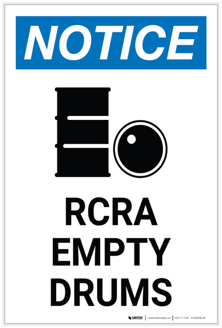 Notice: RCRA Empty Drums with Icon Portrait - Label