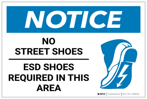 Notice: No Street Shoes - ESD Shoes Required with Icon - Label