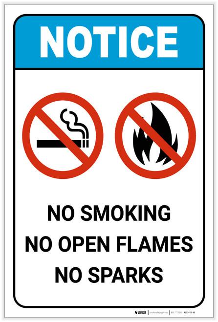 Notice: No Smoking/Open Flames/Sparks ANSI Portrait - Label