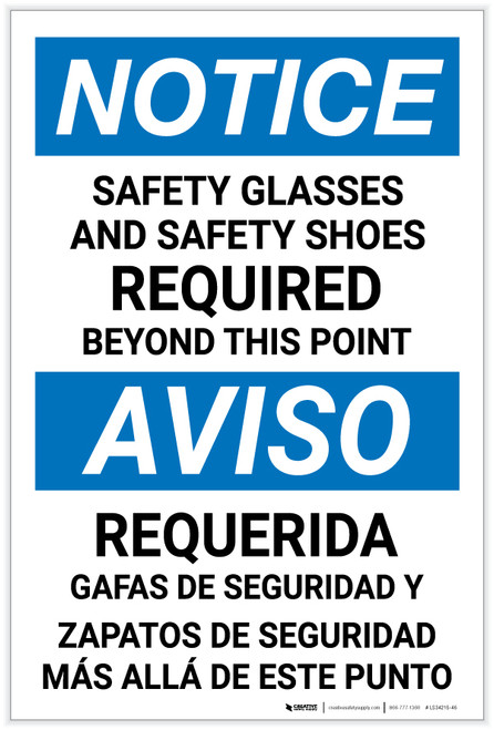 Notice: Bilingual Spanish Safety Glasses Shoes Required - Label