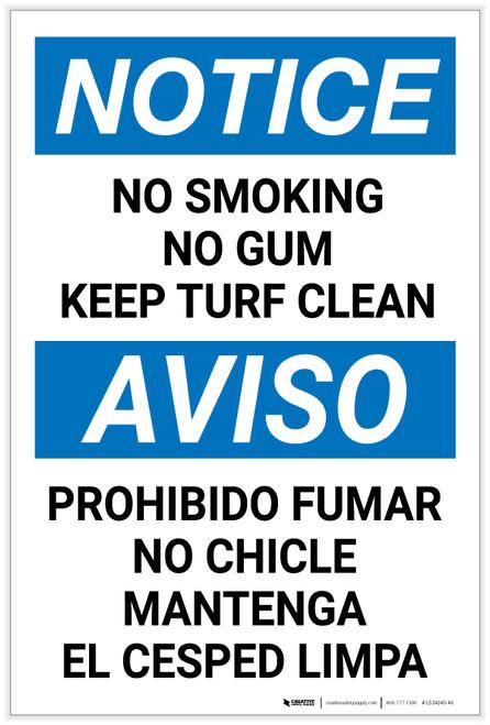 Notice: No Smoking/Gum - Keep Turf Clean Bilingual Spanish Portrait - Label