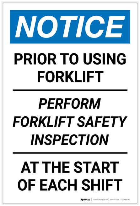 Notice: Perform Forklift Safety Inspection - Label