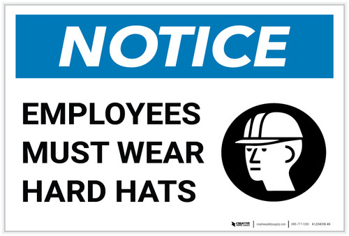 Notice: Employees Must Wear Hard Hats with Icon - Label