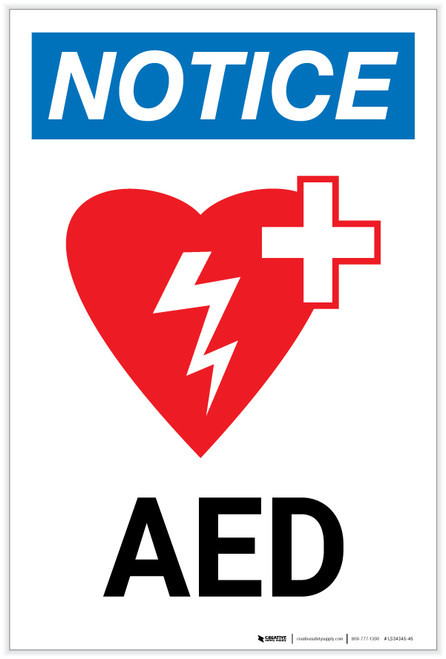 Notice: AED Portrait with Icon - Label