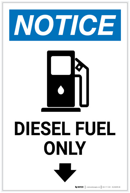 Notice: Diesel Fuel Only Portrait with Icon - Label