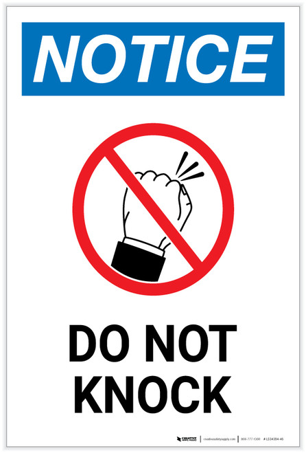 Notice: Do Not Knock with Icon - Label
