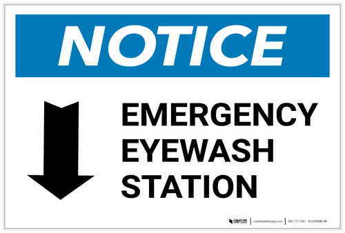 Notice: Emergency Eyewash Station Arrow Down Landscape - Label