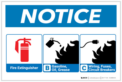 Notice: Fire Extinguisher and Flammable Materials Guideline with Icons - Label