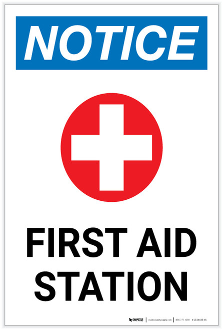 Notice: First Aid Station with Icon Portrait - Label