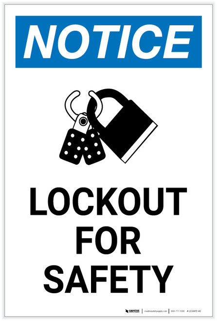 Notice: Lockout For Safety with Icon Portrait - Label