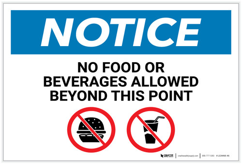 Notice: No Food Or Beverages Allowed Beyond This Point with Icons - Label