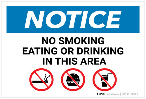 Notice: No Smoking Eating Or Drinking In This Area with Icons - Label