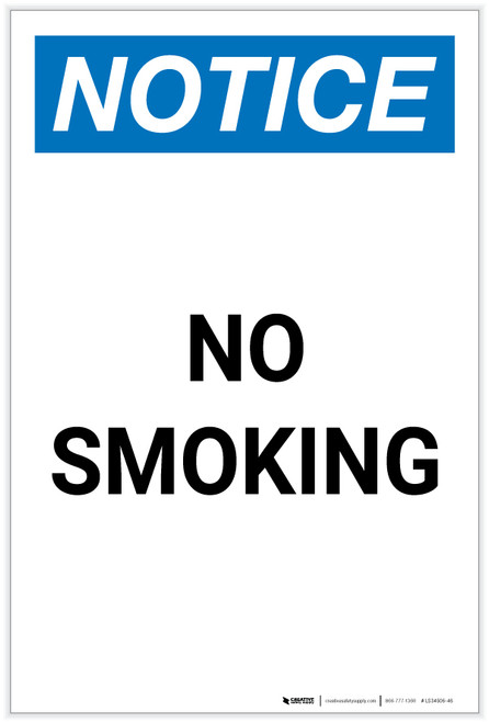 Notice: No Smoking Portrait - Label