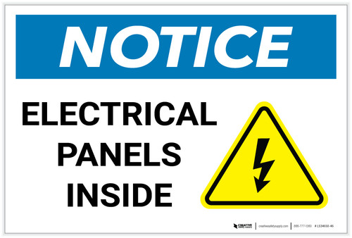 Notice: Electrical Panels Inside with Hazard Icon - Label