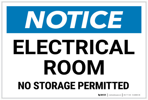 Notice: Electrical Room No Storage Permitted Landscape - Label
