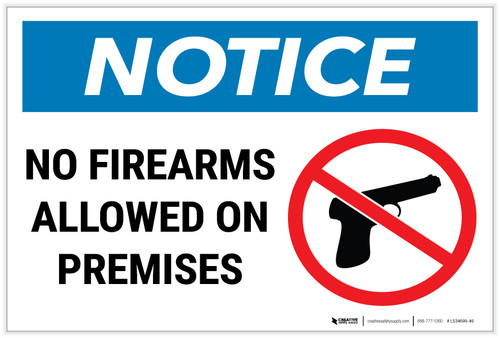 Notice: No Firearms Allowed Premises with Icon Landscape - Label