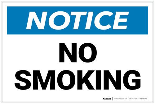 Notice: No Smoking Landscape - Label