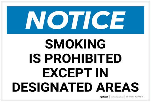 Notice: Smoking Is Prohibited Except Designated Areas Landscape - Label
