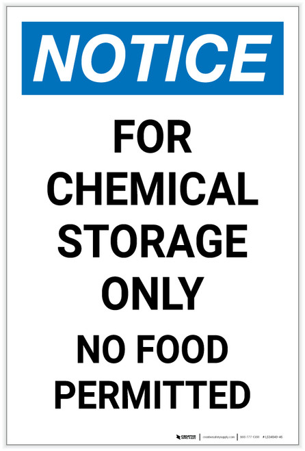 Notice: Chemical Storage Only No Food Permitted Portrait - Label