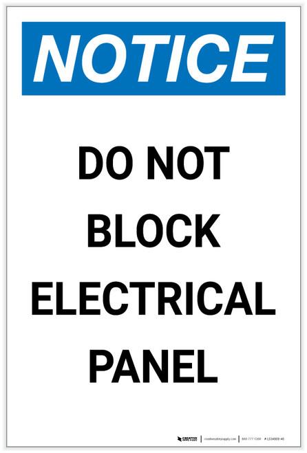 Notice: Do Not Block Electrical Panel Portrait - Label