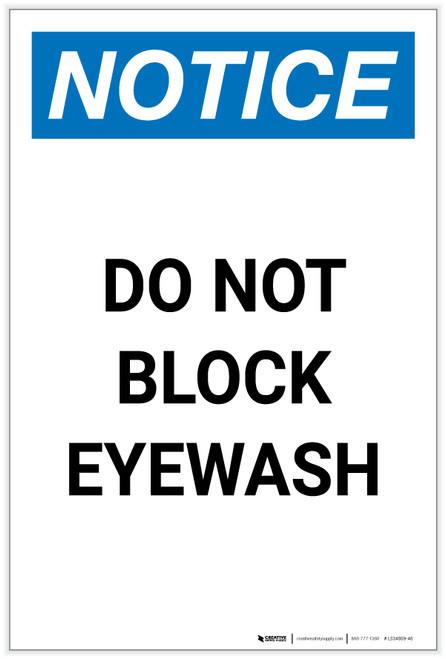 Notice: Do Not Block Eyewash Portrait - Label