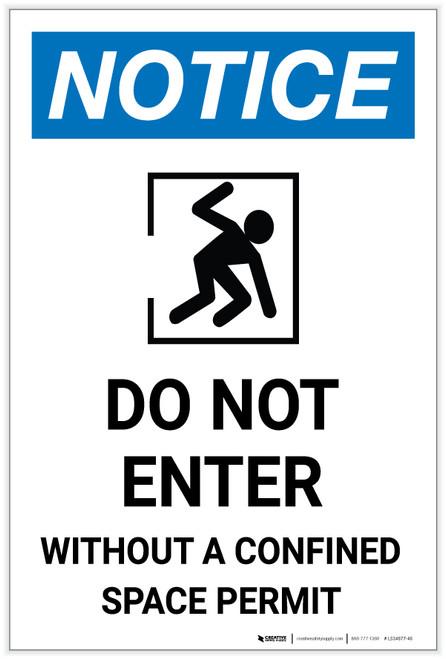 Notice: Do Not Enter Without Confined Space Permit Portrait - Label