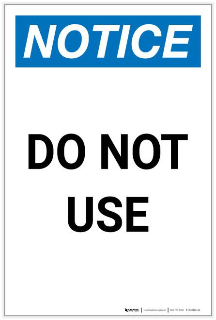 Notice: Do Not Use Portrait - Label