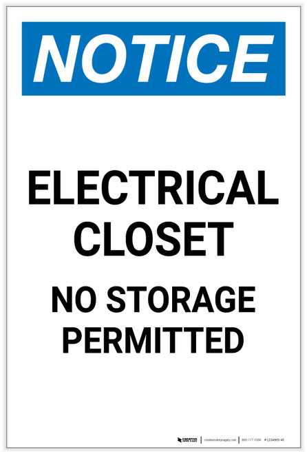 Notice: Electrical Closet No Storage Permitted Portrait - Label